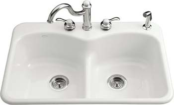 Kohler K-6626-4-0 Langlade Smart Divide Kitchen Sink- 4 Faucet Hole Drilling - White