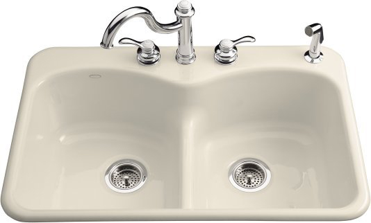 Kohler K-6626-5-47 Langlade Smart Divide Kitchen Sink - Almond (Faucet and Accessories Not Included)