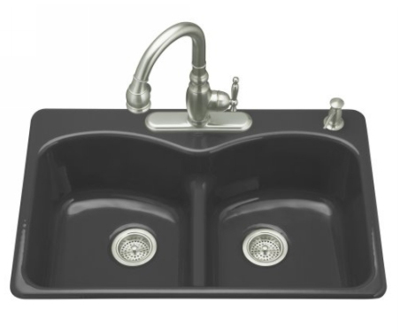 Kohler K-6626-5-7 Langlade Smart Divide Kitchen Sink- 5 Hole Faucet Drilling - Black (Faucet and Accessories Not Included)