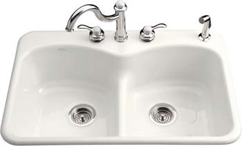 Kohler K-6626-5-0 Langlade Smart Divide Kitchen Sink- 5 Hole Faucet Drilling - White