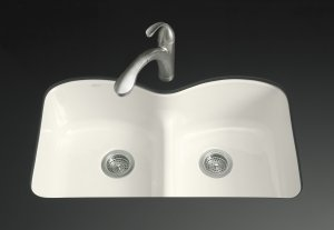 Kohler k-6626-6U-96 Double Basin Smart Divide Cast Iron Kitchen Sink from the Langlade Series - Biscuit
