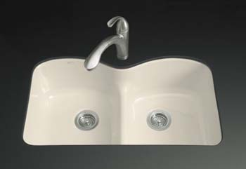 Kohler k-6626-6U-FD Double Basin Smart Divide Cast Iron Kitchen Sink from the Langlade Series - Cane Sugar