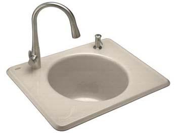 Kohler K-6654-2-FD Tandem Utility Self Rimming Sink, Two Hole - Cane Sugar