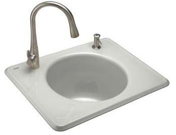 Kohler K-6654-2-FF Tandem Utility Self Rimming Sink, Two Hole - Sea Salt