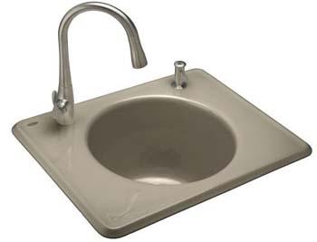 Kohler K-6654-2-G9 Tandem Utility Self Rimming Sink, Two Hole - Sandbar