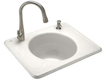 Kohler K-6654-2-0 Tandem Utility Self Rimming Sink, Two Hole - White