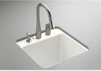 Kohler K-6655-1U-0 Park Falls Undercounter Utility Sink - White (Faucet and Accessories Not Included)