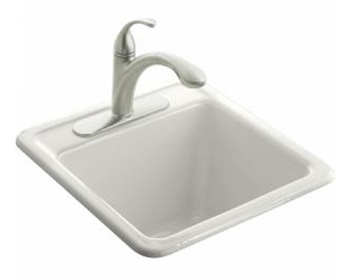 Kohler K-6655-2-0 Park Falls Self Rimming Utility Sink - White (Faucet Not Included)
