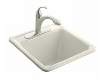 Kohler K-6655-3-96 Park Falls Self Rimming Utility Sink - Biscuit (Faucet Not Included)