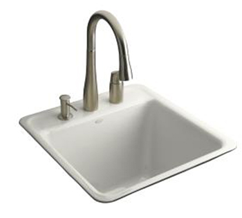 Kohler K-6656-2-0  Park Falls Tile-In/Metal Frame Utility Sink With Two-Hole Faucet Drilling - White