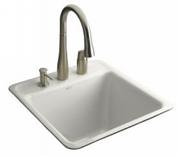 Kohler K-6656-3-0 Park Falls Tile-In Utility Sink - White