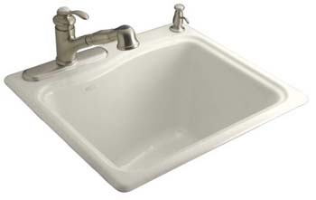 Kohler K-6657-2-96 River Falls Utility Self Rimming Sink - Biscuit