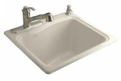 Kohler K-6657-2R-47 River Falls Utility Self Rimming Sink - Almond
