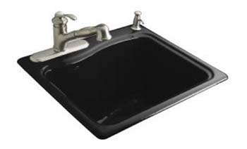 Kohler K-6657-2R-7 River Falls Utility Self Rimming Sink - Black