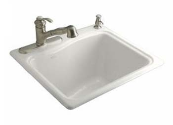 Kohler K-6657-2-0 River Falls Utility Self Rimming Sink - White
