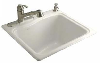 Kohler K-6657-3-96 River Falls Utility Self Rimming Sink - Biscuit