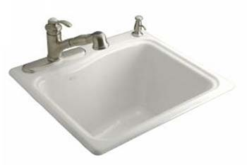 Kohler K-6657-3-0 River Falls Utility Self Rimming Sink - White