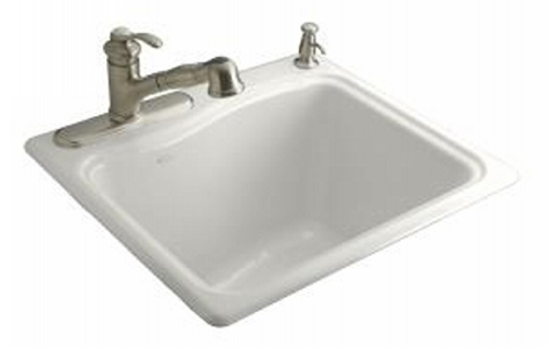 Kohler K-6657-4-0 River Falls Utility Self Rimming Sink - White (Faucet and Accessories Not Included)