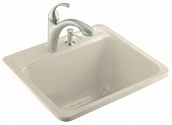 Kohler K-6663-3-47 Glen Falls Self Rimming Utility Sinks - Almond
