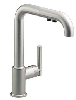 Kohler K-7505-VS Purist Single Hole Kitchen Sink Faucet with 8 in Pullout Spout - Vibrant Stainless
