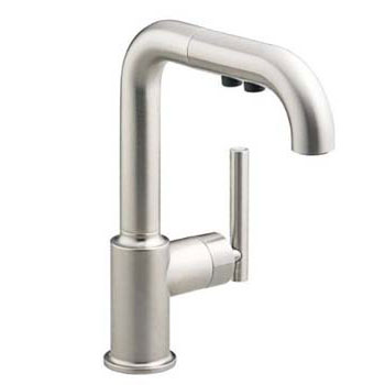 Kohler K-7506-CP Single Handle Bar Faucet with Pullout Spray From The Purist Collection - Polished Chrome (Pictured in Vibrant Stainless)