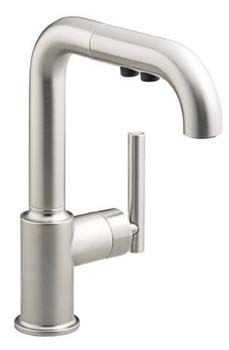 Kohler K-7506-VS Single Handle Bar Faucet with Pullout Spray From The Purist Collection - Vibrant Stainless