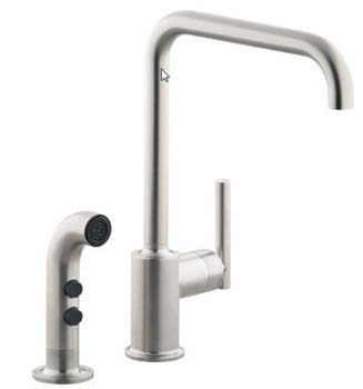 Kohler K-7508-CP Single Handle Kitchen Faucet with Side Spray From The Purist Collection - Polished Chrome (Pictured in Vibrant Stainless)