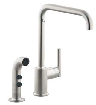 Kohler K-7508-VS Single Handle Kitchen Faucet with Side Spray From The Purist Collection - Vibrant Stainless