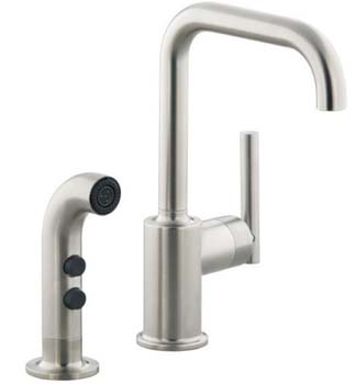 Kohler K-7511-CP  Single Handle Bar Faucet With Side Spray From The Purist Collection - Polished Chrome (Pictured in Vibrant Stainless)