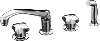 Kohler K-7765-K-CP Triton Two Handle Kitchen Faucet with Sidespray - Polished Chrome (Handles Not Included)