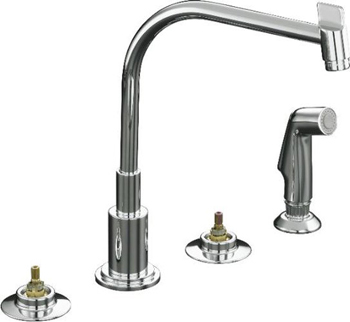Kohler K-7779-K-CP Two Handle Kitchen Faucet with Sidespray - Polished Chrome (Handles Not Included)