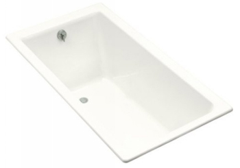 Kohler K-804-L-0 Kathryn 5.5 Foot Bath With Tile Flange and Left Hand Drain - White