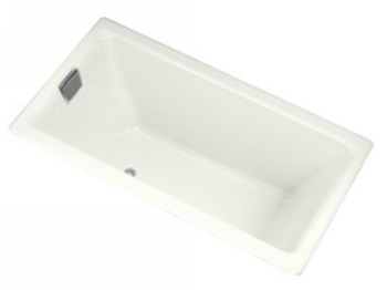 Kohler K-855-L-0 Tea-For-Two 5.5 Foot Bath With Tile Flange and Left Hand Drain - White