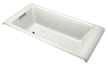 Kohler K-896-0 Cast Iron Drop-In Bath Tub from the Parity Collection - White