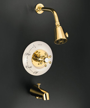 Kohler K-T130-9B-PB Single Handle RiteTemp Tub and Shower Trim with Multi Function Showerhead - Polished Brass