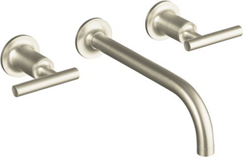 Kohler K-T14414-4-BN Purist Two Handle Wall Mount Bathroom Faucet - Brushed Nickel