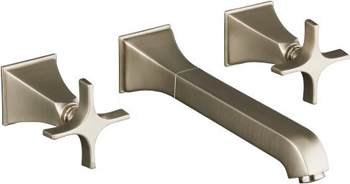 Kohler K-T448-3S-BN Memoirs Two Handle Wall Mount Lavatory Faucet - Brushed Nickel