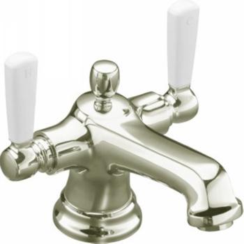 Kohler K-10579-4P-SN Bancroft Monoblock Lavatory Faucet With White Ceramic Lever Handles - Vibrant Polished Nickel
