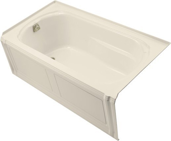 Kohler K1108LAAL Portrait 5' Three Wall Alcove Soaking Tub With Left Hand Drain - Almond