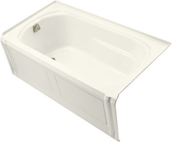 Kohler K1108LABI Portrait 5' Three Wall Alcove Soaking Tub With Left Hand Drain - Biscuit