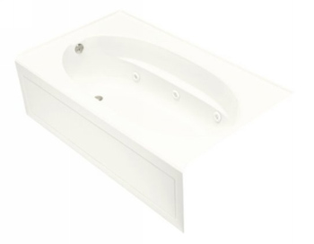 Kohler K-1112-HL-0 Windward 5 Foot Drop In Jetted Tub with Left Hand Drain - White
