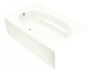 Kohler K-1112-LA-0 Windward 5' Whirlpool With Integral Apron and Left Hand Drain - White