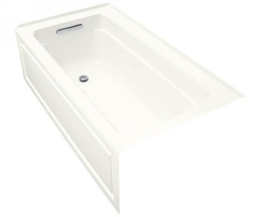 Kohler K-1122-GLA-0 Archer Bubble Massage 5' Bath With Comfort Depth Design Integral Apron And Left-Hand Drain In White