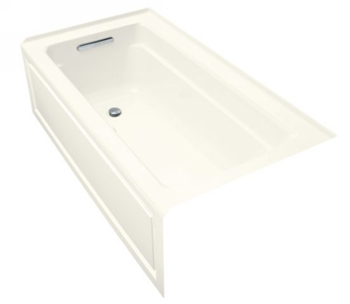 Kohler K-1122-GLA-96 Archer Bubble Massage 5' Bath With Comfort Depth Design Integral Apron And Left-Hand Drain - Biscuit