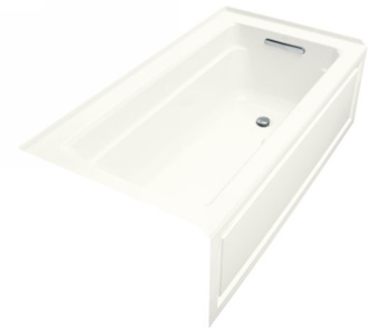 Kohler K-1122-GRA-0 Archer Bubble Massage 5' Bath With Comfort Depth Design Integral Apron And Right-Hand Drain - White