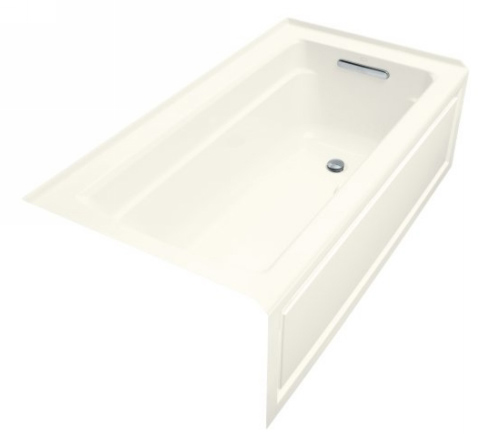 Kohler K-1122-GRA-96 Archer Bubble Massage 5' Bath With Comfort Depth Design Integral Apron And Right-Hand Drain - Biscuit