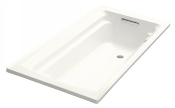 Kohler K-1124-G-0 Archer 6' Bubble Massage Bath With Comfort Depth Design - White