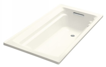 Kohler K-1124-G-96 Archer 6' Bubble Massage Bath With Comfort Depth Design - Biscuit