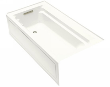 Kohler K-1124-GLA-0 Archer 6' Bubble Massage Bath With Comfort Depth Design Integral Apron And Left-Hand Drain - White