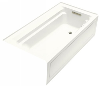 Kohler K-1124-GRA-0 Archer 6' Bubble Massage Bath With Comfort Depth Design Integral Apron And Right-Hand Drain - White